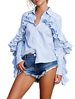 Women's Going out Work Casual Street chic Spring Fall Shirt,Striped Shirt Collar Long Sleeves Polyester Medium