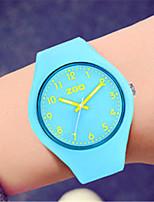 Mulheres Relógio de Moda Quartzo Silicone Banda Branco Azul Verde Rosa Azul Marinho