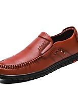 Hombre Zapatos Cuero Primavera Otoño Confort Zapatos de taco bajo y Slip-On Para Casual Negro Marrón
