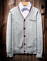 Men's Casual/Daily Simple Regular Cardigan,Color Block V Neck Long Sleeves Polyester Fall Medium Micro-elastic