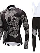 Cycling Jersey with Bib Tights Unisex Long Sleeves Bike Clothing Suits Quick Dry Skull Autumn/Fall Spring Cycling/Bike White Black