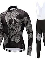 Maillot et Cuissard Long à Bretelles de Cyclisme Unisexe Manches Longues Vélo Ensemble de Vêtements Séchage rapide Crânes Automne