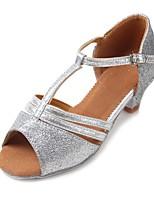 Kids' Latin Glitter Leatherette Sandal Heel Practice Buckle Sparkling Glitter Chunky Heel Silver 1