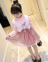 Girl's Daily Solid Dress,Cotton Polyester Winter Fall Long Sleeve Lace Blushing Pink