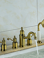 Tub And Shower Ceramic Valve Three Handles Five Holes for  Bronze , Bathtub Faucet