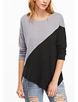 cheap -Women's Daily Holiday Casual Street chic Spring Fall T-shirt,Color Block Round Neck Long Sleeve Polyester