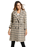 Women's Daily Holiday Cute Street chic Winter Fall Coat,Plaid Shirt Collar Long Sleeve Long Faux Fur Cotton Polyester