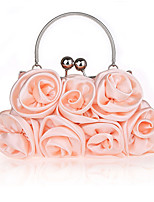 Women Bags All Seasons Silk Evening Bag Flower(s) for Wedding Event/Party Silver Red Purple Almond Coffee