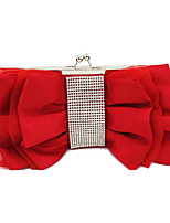 Women Bags All Seasons Satin Evening Bag Crystal Detailing Ruffles for Wedding Event/Party Champagne Black Silver Red Fuchsia