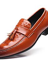 Hombre Zapatos Semicuero Primavera Otoño Botas de Moda Zapatos de taco bajo y Slip-On Borla Para Fiesta y Noche Negro Amarillo Rojo