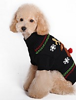 Dog Sweater Dog Clothes Christmas Reindeer Black Red Costume For Pets