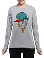 Tee-shirt Femme,Imprimé Sortie Décontracté / Quotidien Chic de Rue Chinoiserie Automne Manches Longues Col Arrondi Coton Moyen