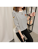 Women's Daily Work Cute Casual Sophisticated Winter Fall T-shirt,Striped Embroidery Round Neck Long Sleeves Cotton Rayon Polyester Medium