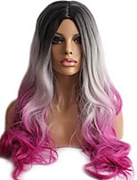 Women Synthetic Wig Capless Long Wavy Natural Wave Body Wave Black/Purple Halloween Wig Natural Wigs Costume Wig