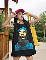 T-shirt Da donna Casual Semplice Moda città Estate,Con stampe Rotonda Cotone Senza maniche Medio spessore
