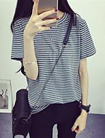 Feminino Camiseta Casual Simples Listrado Algodão Decote Redondo Manga Curta
