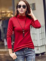 Chemisier Femme,Couleur Pleine Sortie Grandes Tailles Automne Hiver Manches Longues Col Roulé Coton Polyester Spandex Epais
