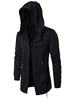 Men's Daily Hoodie Solid Hooded Micro-elastic Cotton Long Sleeve Winter Fall