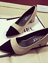 Women's Shoes Suede Spring Fall Comfort Heels Low Heel Pointed Toe For Casual Almond