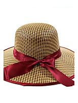 Для женщин Шапки Деревня Богемный Соломенная шляпа,Лето Солома С принтом Кружева Бант