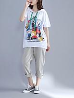 Feminino Camiseta Para Noite Simples Estampado Algodão Decote Redondo Manga Curta