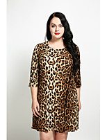 Cute Ann Women's Plus Size Casual/Daily Sexy Vintage Simple A Line Loose Shift Dress,Leopard Round Neck Above Knee 3/4 Length Sleeves Cotton