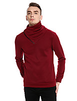 Men's Casual/Daily Regular Pullover,Polka Dot Turtleneck Long Sleeves Cotton Spring Fall Medium Micro-elastic