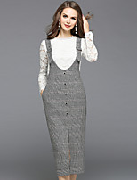 EWUS Women's Going out Casual/Daily Street chic Fall Blouse Skirt Suits,Solid Round Neck Long Sleeve Lace Cut Out Inelastic