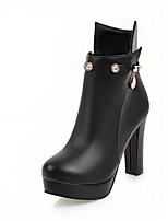 Mujer Zapatos Semicuero Primavera Invierno Botas de Moda Botas Tacón Robusto Dedo redondo Botines/Hasta el Tobillo Pedrería Para Casual