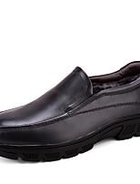 Hombre Zapatos Cuero real Cuero de Napa Cuero Invierno Confort Zapatos formales Zapatos De Buceo Forro de pelusa Zapatos de taco bajo y