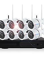 yanse® plug and play 8ch kits nvr sans fil 720p étanche ir vision nocturne sécurité wifi ip caméra 36leds surveillance système de