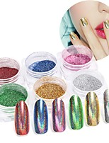 Pinpai 6 pcs nail art poudre laser paon couleur placage métal feuille miroir-brillant argent flash poudre paillettes