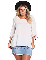Women's Holiday Going out Cute Fall T-shirt,Color Block Round Neck 3/4 Length Sleeves Polyester Spandex Medium