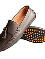 Men's Shoes Cowhide Nappa Leather Spring Fall Light Soles Loafers & Slip-Ons For Casual Dark Brown Black