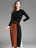 EWUS Women's Going out Casual/Daily Street chic Fall Sweater Skirt SuitsSolid Color Block Round Neck Long Sleeve Micro-elastic