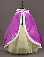 Velvet Wedding Party / Evening Kids' Wraps With Cap Capes
