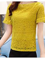 Tee-shirt Femme,Couleur Pleine Décontracté / Quotidien simple Manches Courtes Col Arrondi Coton Lin Polyester
