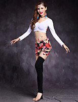 Shall We Belly Dance Outfits Women's Training Modal Spandex Long Sleeve Dropped Skirts Tops