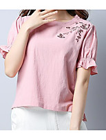 Women's Daily Casual T-shirt,Solid Print Round Neck Half Sleeves Linen
