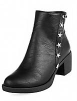 Femme Chaussures Similicuir Polyuréthane Automne Hiver Botillons Confort Nouveauté Bottes Gros Talon Bout rond Bottine/Demi Botte