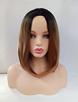 Women Synthetic Wig Capless Medium Length Straight Black/Medium Auburn Ombre Hair Dark Roots Middle Part Bob Haircut Cosplay Wig Costume