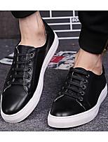 Hombre Zapatos Cuero Primavera Otoño Suelas con luz Zapatillas de deporte Para Casual Blanco Negro