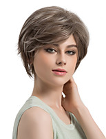 Women Synthetic Wig Capless Short Straight Brown/White Side Part Highlighted/Balayage Hair With Bangs Natural Wigs Costume Wig