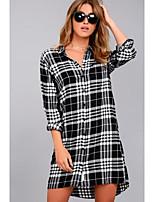 Camicia Da donna Per uscire Casual Sensuale Primavera Estate,A quadri Colletto Cotone Manica lunga Medio spessore