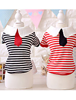 Dog Dog Clothes Casual/Daily Stripe Black Red