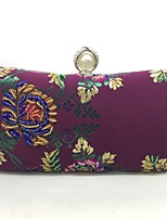 Women Bags All Seasons Metal Evening Bag Embroidery for Event/Party Wine Blushing Pink Black Blue