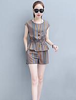 Damen Gestreift Einfach Lässig/Alltäglich Bluse Hose Anzüge,Rundhalsausschnitt Sommer Kurzarm Mikro-elastisch