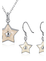 Women's Drop Earrings Pendant Necklaces Christmas Silver Plated Star Necklace Earrings