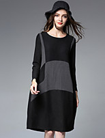 JIANRUYI Women's Casual/Daily Simple Loose Dress,Color Block Round Neck Midi Long Sleeves Polyester Spandex Fall Winter High Rise Inelastic Medium