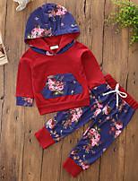 Ensembles Fille Géométrique Couleur Pleine Fleur Coton Polyester Printemps Automne Pantalon long Ensemble de Vêtements